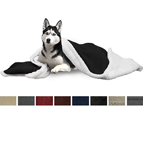 PetAmi Dog Blanket, Sherpa Dog Blanket | Plush, Reversible, Warm Pet Blanket for Dog Bed, Couch, Sofa, Car (Black, 50x40 Inches)