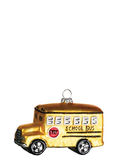 Retro Yellow School Bus 4 inch Glass Specialty Christmas Ornament
