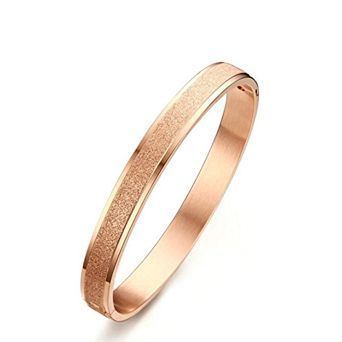 Steel Cuff Bracelet Stainless Sand (Beydodo 8mm Stainless Steel Bracelet Bangle Sand Surface Matte Finished Rose Gold Women Bangle Bracelet)