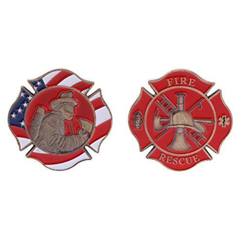 XIAO-WU Commemorative Coin American Firefighting Mark Fire Collection Art Gifts Souvenir ()