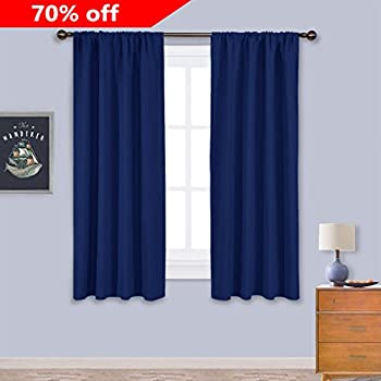 bedroom curtains and drapes. NICETOWN Navy Bedroom Curtains Blackout Draperies  All Season Thermal Insulated Solid Rod Pocket Top Amazon com Room Darkening Window Panel Drapes