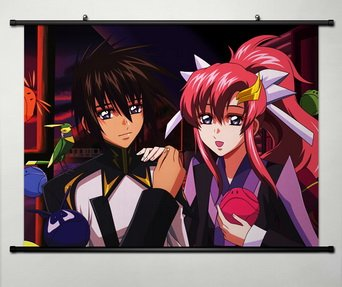Gundam Wall Scroll Poster Fabric Painting For Anime Seed Kira Yamato & Lacus Clyne 006