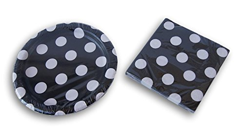 Black and White Polka Dot Party Supply Kit - Beverage Napkins and Dessert Plates]()