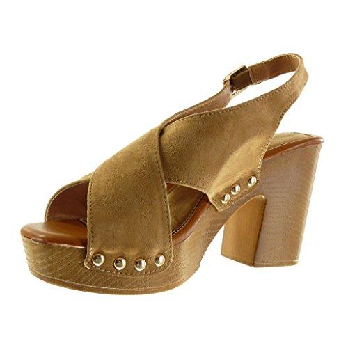 Angkorly - Chaussure Mode Sandale Mule plateforme ouverte femme lanière clouté boucle Talon haut bloc 9.5 CM - Camel