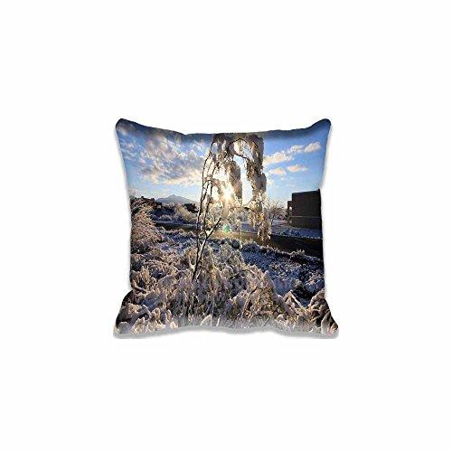 Custom Design Winter Sunrise Pillow Cases Zippered , 16x16 Square Seasons Pillowcase - Winter Cushion Covers Two Size (Angry Birds Season 3 Halloween 2-12)