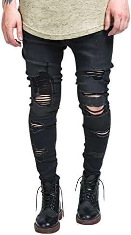 Sik Silk Men's Raw Edge Crop Crotch Ripped Jeans, Grey