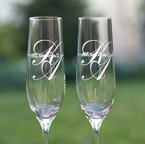 Juego de 2 copas de champán personalizadas para novio y novia, copas de champán con fecha, iniciales, copas de champán con monograma: Amazon.es: Hogar