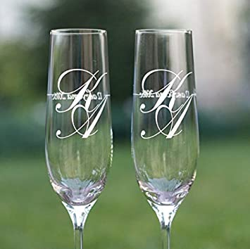1c4e6de6fad Bride and Groom Toasting Glasses Set of 2,Personalized Champagne Flutes,Wedding  Glasses with