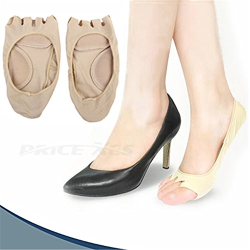 Price comparison product image Toeless Gel Toe Heel Socks, Hidden Invisible Stockings - No Show Anti-Slip Anti-sweat Heel Grip Silica Pads Arch Support (beige)