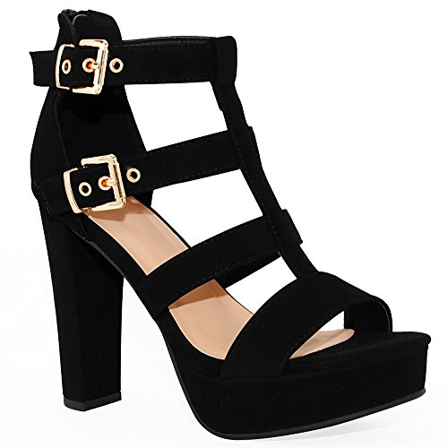 - TRENDSup Collection Women's Platform High Heel - Open Toe Sandal Chunky Dress Heel (8.5, Black)