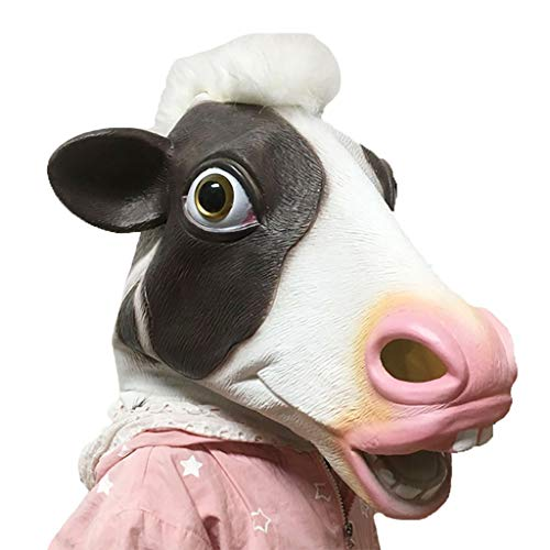 Marching orchid Creative Quirky Adult Horror Mask Halloween Christmas Party Latex Cow Headgear DIY Cosplay Props -