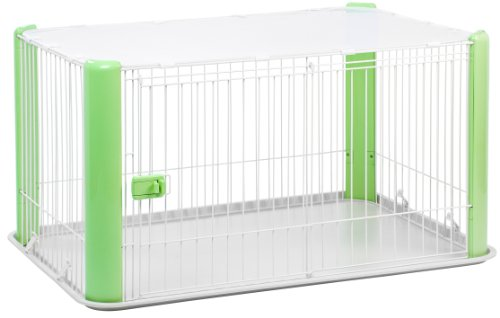 IRIS Large Wire Dog Crate with Mesh Roof, Green