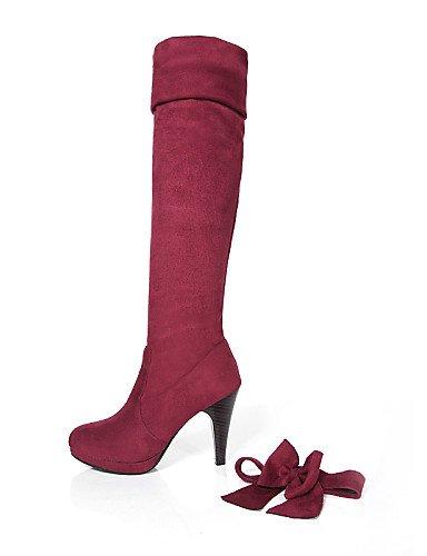 Tacón 5 Cn38 us7 5 Uk1 Rojo Casual Punta Mujer Redonda Uk5 us3 5 Xzz Semicuero Negro Eu38 A 5 Moda Vestido Eu33 La Brown De Brown Cono Zapatos Cn32 Marrón Botas C gpnqAt