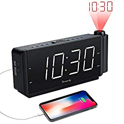 DreamSky Projection Alarm Clock Radio with USB Charging Port and FM Radio, 2 Large Led Display with Dimmer, Adjustable Alarm Volume, Snooze, Sleep Timer, DST Button, 12 Hrs Display.