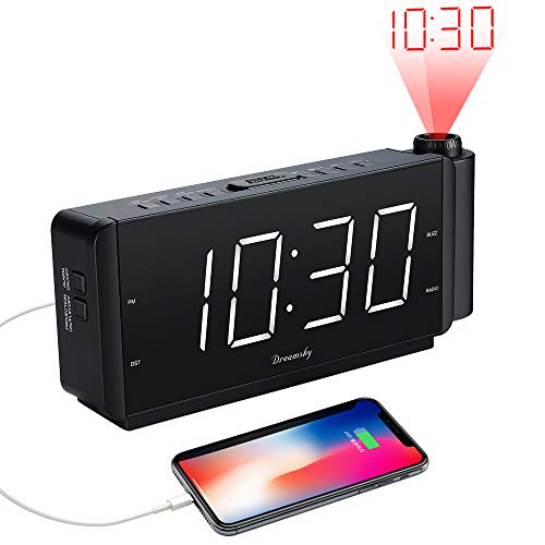 "DreamSky Projection Alarm Clock Radio with USB Charging Port and FM Radio, 2"" Large Led Display with Dimmer, Adjustable Alarm Volume, Snooze, Sleep Timer, DST Button, 12 Hrs Display."