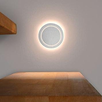 LED Treppenbeleuchtung DUPLEX Aus Aluminium In Rund Für Schalterdoseneinbau  68mm   Warmweiß 3000K   Farbe Aluminium