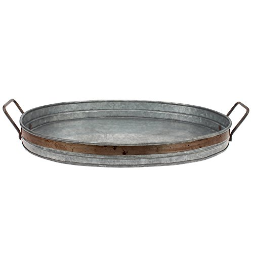 Stonebriar Galvanized Metal Serving Tray with Rust Trim and Metal Handles, Unique Butler Tray, Decorative Centerpiece for Coffee Table or Dining Table, Rustic Accessories for Weddings and Parties ()