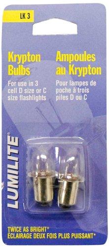 Lumilite LK3 Krypton 3.6V 0.75A Gas Flange Base Bulb for 3D Cell Flashlight, 2-Pack (Krypton Flashlight Light Bulbs)