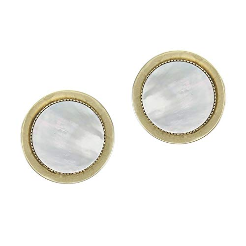 Marjorie Baer Mother of Pearl and Disc Button Clip on Earring