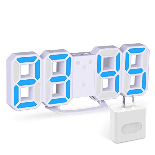 3D Digital Alarm Clock with Charging Plugs,Modern Night Light Clock, Best Decorative LED Number Time Clock for The Wall, Table, Bedside, Desk. Modern Unique Design Alarm Clock