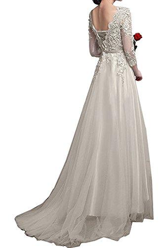 La_Marie Braut Damen Glamour Spitze Langarm Abendkleider Brautmutterkleider Festlichkleider A-linie Lang Perlen Rosa NkLCClW