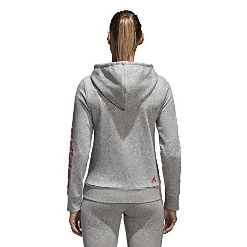adidas Women's Essentials Linear Full Zip Fleece Hoodie, Medium Grey Heather/Real Pink, X-Small by adidas (Image #3)