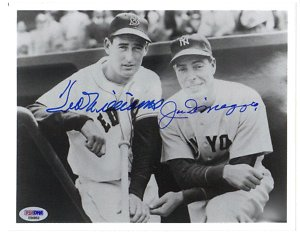 joe dimaggio & ted williams autograph photo psa/dna