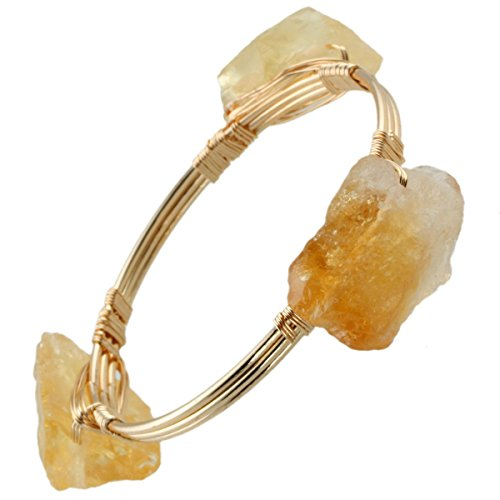 SUNYIK Citrine Tumbled Stone Wire Bracelet](Wire Wrapped Bangle Bracelets)