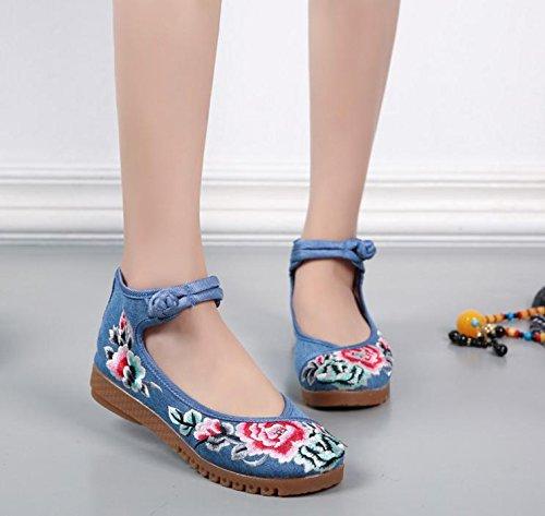 DESY Gestickte Schuhe, Sehnensohle, ethnischer Stil, weibliche Tuchschuhe, Mode, bequem, lässig , blue , 36