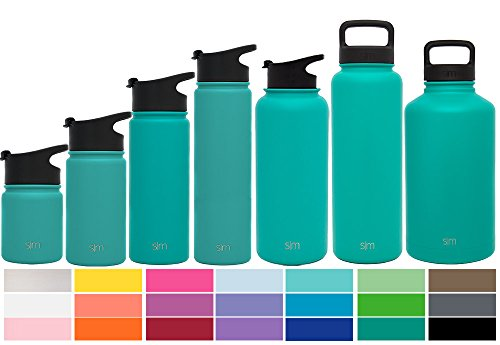 Simple Modern 64oz Summit Water Bottle + Extra Lid - Vacuum Insulated Stainless Steel Big Wide Mouth Hydro Travel Growler - Powder Coated Double Wall Large Flask - Emerald Green