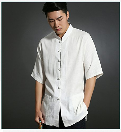 Business Shirts Men's shirt Tang Costume Tang Suit Retra Shirt Chinese National Style Flax Cotton-flax by LUOLAN-Tang Sui (Image #4)