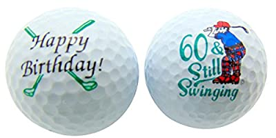 60th Birthday Sixty & Still Swinging Set of 2 Golf Ball Golfer Gift Pack