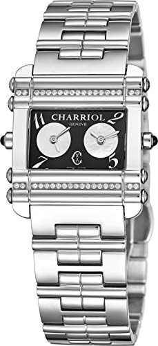 Time Ladies Watch Double - Charriol Actor Womens Stainless Steel Diamond Watch - Black Face Ladies Watch with Dual Time Zones and Sapphire Crystal - Swiss Made Quartz Rectangular Watch for Women CCHDTD1.110.HDT01