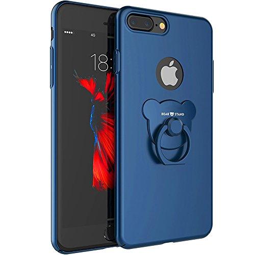iPhone 7 Plus case,Niubity Bear Ring Series PC bumper case 360 Degree Rotation bracket for Apple iPhone 7 Plus 2016 (Blue)