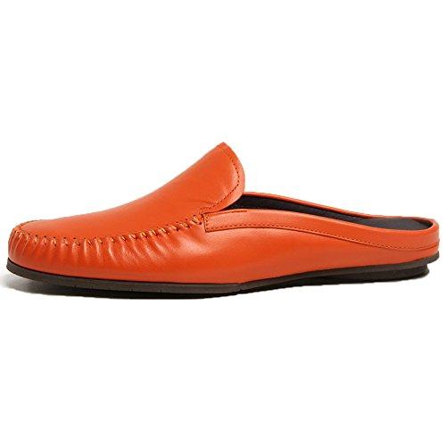 Pantofola Santimon Uomo Ciabatte Da Clog Comoda Scarpa In Pelle Su Mocassini Casual Arancio