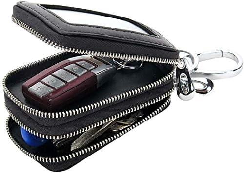 車のキーケース、ユニバーサル手作りの本革ジッパーキーチェーンケースポーチカーキーホルダーバッグ (Color : Black W