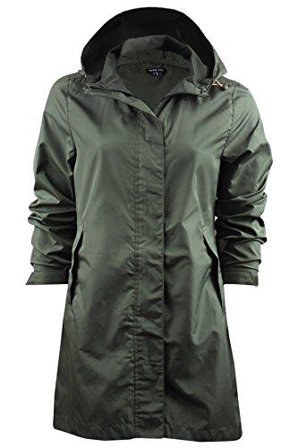 Ladies Brave Soul Raver Lightweight Raincoat Hooded Foldaway Mac In A Bag Khaki