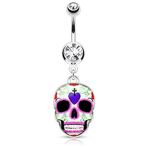 (14G Purple Sugar Skull 316L Surgical Steel Dangle Navel Ring (Sold by Piece))