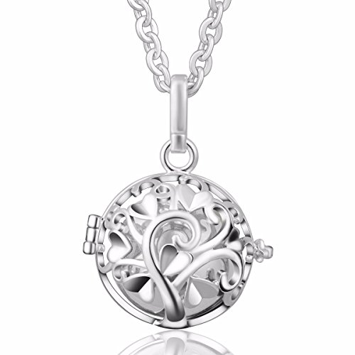 [Eudora Harmony Bola Tree of Love 20mm Angel Caller Pendant Musical Chime Prayer Bell 30'' Necklace Silver] (Angel Locket)