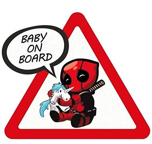 Bimbo a bordo Adesivi Decalcomanie di Sicurezza Segno di Attenzione Deadpool Spiderman Baby on Board sticker