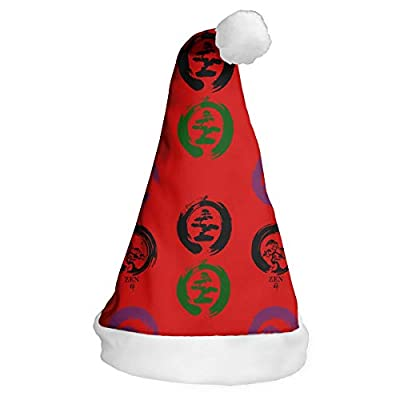 Party Celebration Bonsai Tree in Enso Circle - Buddhist Zen Calligraphy Xmas Hat: Clothing