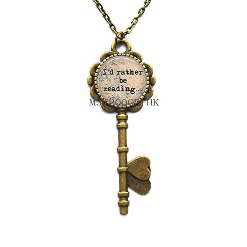 Reader Key Necklace - Library Book Key Necklace - Librarian Key Pendant - Gifts for Readers - Book Key Necklace-MT281 -