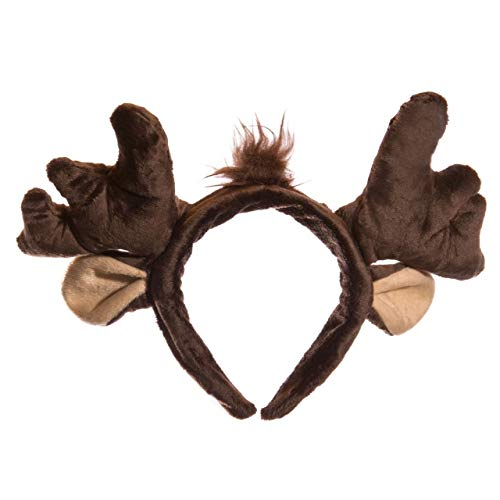 Wildlife Tree Plush Moose Ears Headband Accessory for Moose Costume, Cosplay, Pretend Animal Play or Forest Animal Costumes -