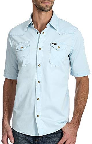 (Wrangler Mens Western Pigment Dyed Snap Short Sleeve Shirt Large Light Blue)