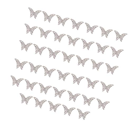 (Fityle 40pcs/Lot 25x39mm Metal Filigree Butterfly Slice Charms Setting Jewelry for Hairpin, Bridal Headwear, Step Shake, Sweater Chain, Necklace Making - Silver)