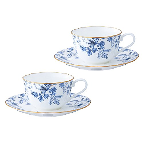 Bone china blue Sorrentino tea and coffee porcelain bowl plate pair set P59387A/4562 (japan import) ()