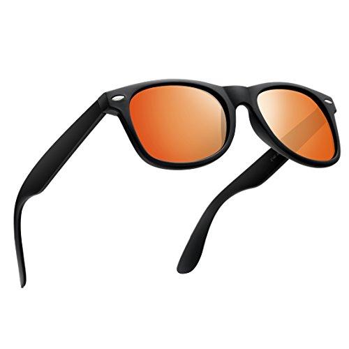 Wayfarer Sunglasses for Men Women-wearPro Vintage Polarized Sunglasses (Orange Wayfarer)