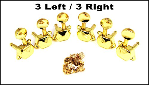 C-ration Boxes - 6pc. Gold Acoustic Guitar Tuners / Machine Heads - 3 Left/3 Right Alignment