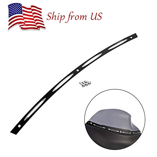 1996 Windshield - FATExpress Motorcycle Black Beveled Windscreen Windshield Trim for 1996-2013 Harley Touring 1997 1998 1999 2000 2001 2002 2003 2004 2005 2006 2007 2008 2009 2010 2011 2012 96-13