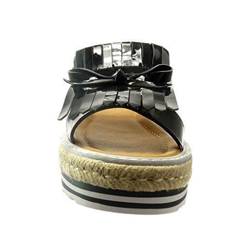 Angkorly - damen Schuhe Sandalen Espadrilles - Plateauschuhe - Franse - Knoten - Patent Keilabsatz 5 CM - Schwarz